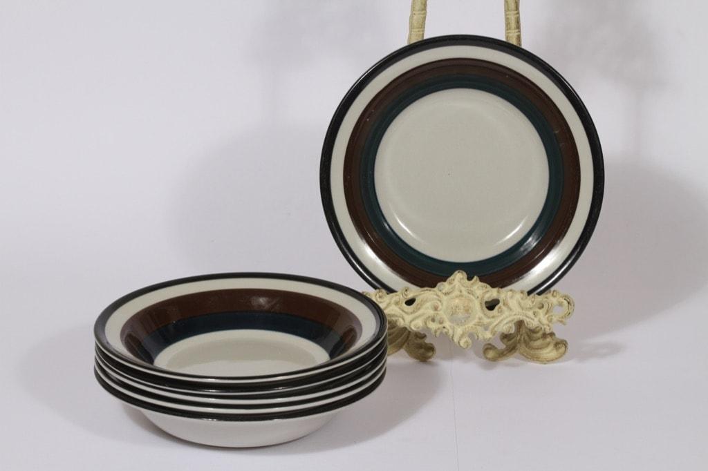 Arabia Kaira lautaset, syvä, 6 kpl, suunnittelija Anja Jaatinen-Winqvist, syvä, raitakoriste