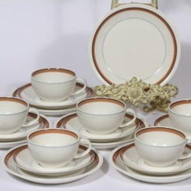 Arabia Katariina kahvikupit ja lautaset, 6 kpl, suunnittelija , raitakoriste