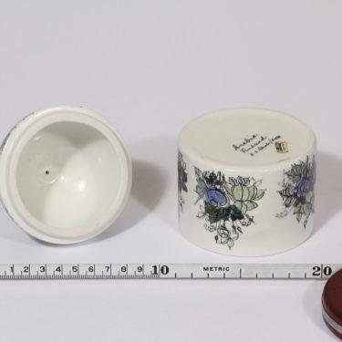 Arabia Ruusu purkkki, käsinmaalattu, suunnittelija Hilkka-Liisa Ahola, käsinmaalattu, signeerattu kuva 3