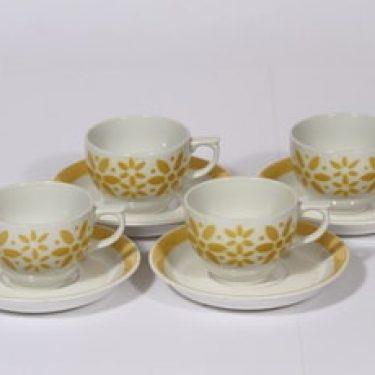 Arabia Armi kahvikupit, keltainen, 4 kpl, suunnittelija , puhalluskoriste