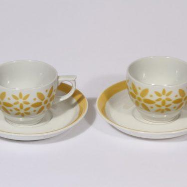 Arabia Armi kahvikupit, keltainen, 2 kpl, suunnittelija , puhalluskoriste