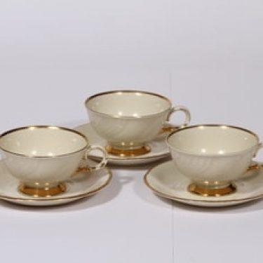 Arabia Kultakoriste kahvikupit, 3 kpl, suunnittelija , kultakoriste
