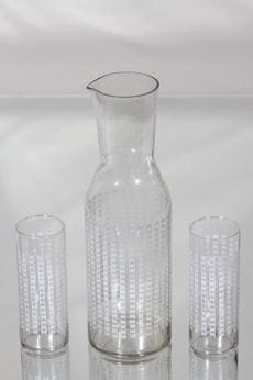 Riihimäen lasi 1799 karahvi ja lasit, kirkas, 2 kpl, suunnittelija Helena Tynell, serikuva