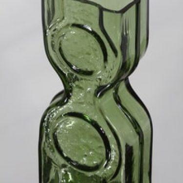 Riihimäen lasi Kaappikello maljakko, vihreä, suunnittelija Helena Tynell,
