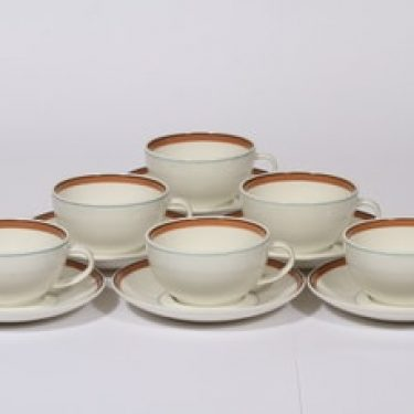 Arabia Katariina teekupit, 6 kpl, suunnittelija , raitakoriste