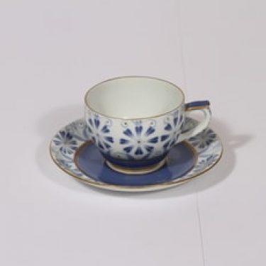 Arabia Sinikka kahvikuppi, sininen-kulta, suunnittelija , painokoriste
