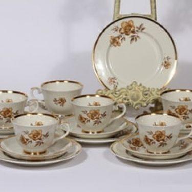 Arabia Myrna kahvikupit ja leivoslautaset, 6 kpl, suunnittelija Olga Osol, serikuva