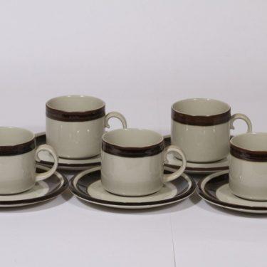 Arabia Karelia kahvikupit, käsinmaalattu, 5 kpl, suunnittelija Anja Jaatinen-Winqvist, käsinmaalattu