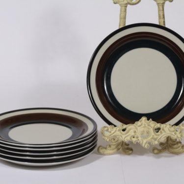 Arabia Kaira lautaset, matala, 6 kpl, suunnittelija Anja Jaatinen-Winqvist, matala, raitakoriste