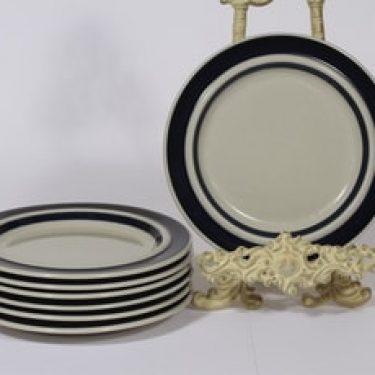 Arabia Anemone lautaset, matala, 7 kpl, suunnittelija Ulla Procope, matala, raitakoriste