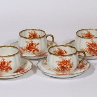 Arabia kukkakuvio teekupit, oranssi, 4 kpl, suunnittelija , siirtokuva, kukka-aihe