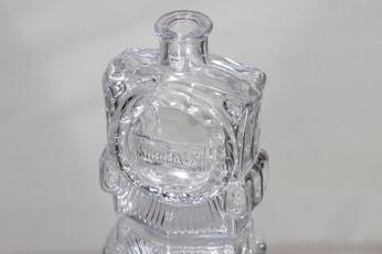 Riihimäen lasi Veturipullo koristepullo, kirkas, suunnittelija Erkkitapio Siiroinen, pieni