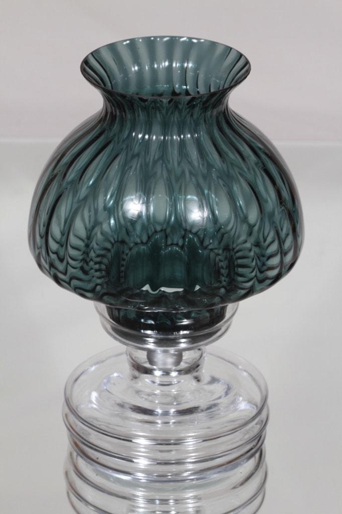 Riihimäen lasi Apollo kynttilälyhty, siniharmaa, suunnittelija Nanny Still,
