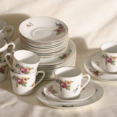 Arabia OT kahvikupit, kukkakuvio, 8 kpl, suunnittelija , kukkakuvio, siirtokuva