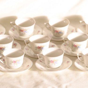 Arabia kahvikupit, kukkakuvio, 10 kpl, suunnittelija , kukkakuvio, siirtokuva