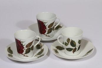 Arabia Ruusu kahvikupit, 3 kpl, suunnittelija , serikuva, kukka-aihe