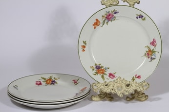 Arabia Kesäkukka lautaset, matala, 4 kpl, suunnittelija , matala, siirtokuva, vihreäraita, kukka-aihe