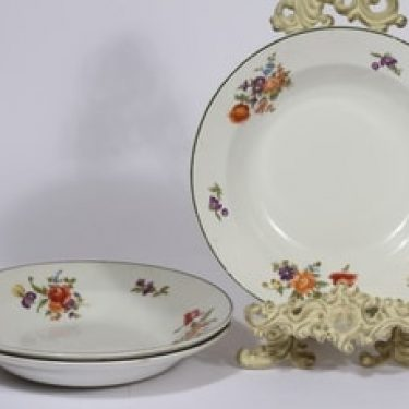 Arabia Kesäkukka lautaset, syvä, 3 kpl, suunnittelija , syvä, siirtokuva, vihreäraita, kukka-aihe