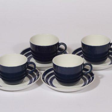 Arabia AA kahvikupit, sininen, 4 kpl, suunnittelija , raitakoriste