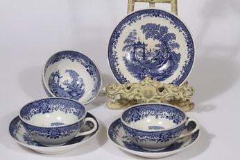 Arabia Canton teekupit, sininen, 3 kpl, suunnittelija , kuparipainokoriste