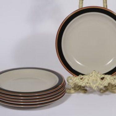 Arabia Reimari lautaset, 6 kpl, suunnittelija Inkeri Leivo, pieni, raitakoriste