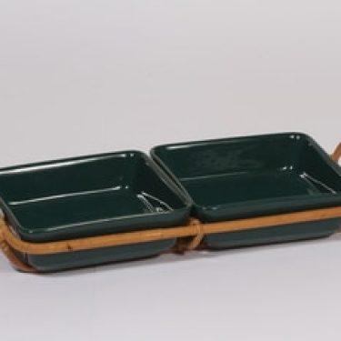 Arabia Kilta kulhot, vihreä, 2 kpl, suunnittelija Kaj Franck, rottinkikahva