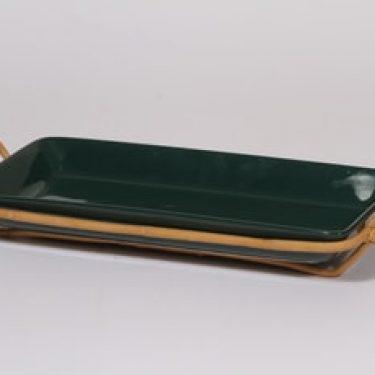 Arabia Kilta vati, vihreä, suunnittelija Kaj Franck, kapea, rottinkikahva