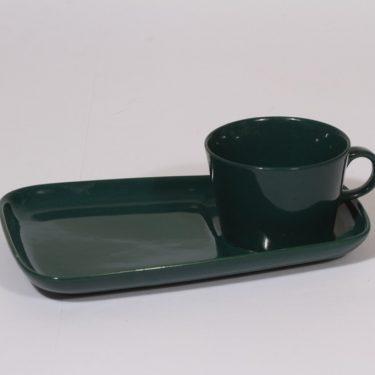 Arabia Kilta kuppi ja erikoislautanen, vihreä, suunnittelija Kaj Franck,