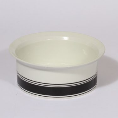 Arabia Faenza bowl, black, designer Inkeri Seppälä, stripe decoration