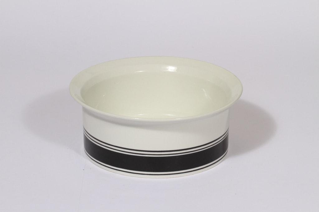 Arabia Faenza bowl, black, designer Inkeri Seppälä, stripe decoration