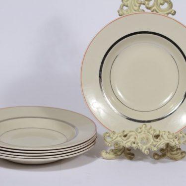 Arabia Elite lautaset, syvä, 6 kpl, suunnittelija Olga Osol, syvä, raitakoriste