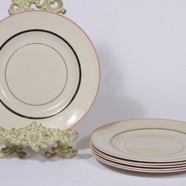 Arabia Elite lautaset, matala, 6 kpl, suunnittelija Olga Osol, matala, raitakoriste