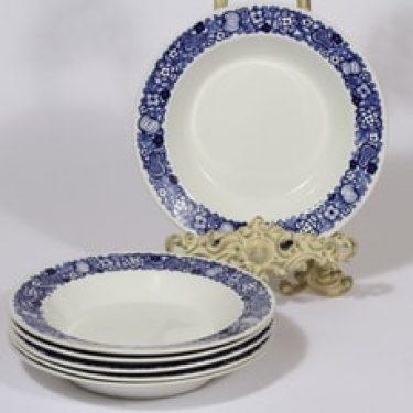 Arabia kukkakuvio lautaset, syvä, 6 kpl, suunnittelija , syvä, kuparipainokoriste, retro