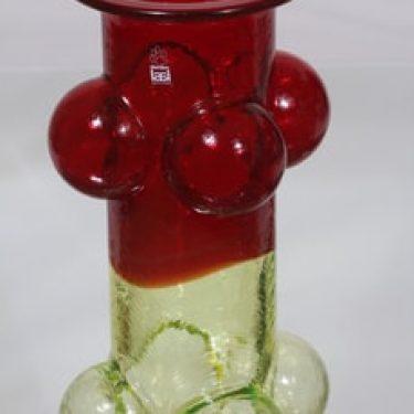 Riihimäen lasi Pajazzo maljakko, rubiininpunainen-keltainen, suunnittelija Nanny Still, suuri, retro