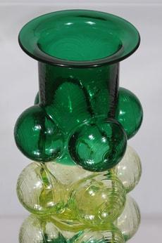 Riihimäen lasi Pajazzo maljakko, vihreä-keltainen, suunnittelija Nanny Still, retro