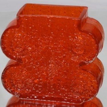 Riihimäen lasi Nebulosa maljakko, oranssi, suunnittelija Nanny Still, massiivinen, retro