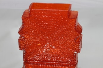 Riihimäen lasi Stellaria maljakko, oranssi, suunnittelija Nanny Still, massiivinen, retro