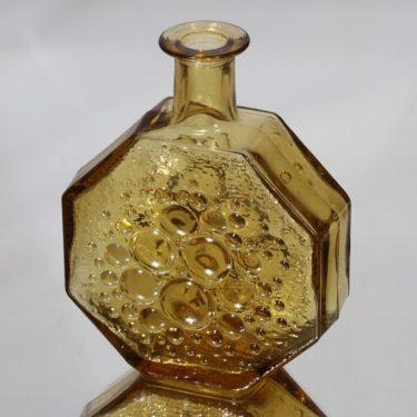 Riihimäen lasi Stella Polaris koristepullo, amber, suunnittelija Nanny Still,