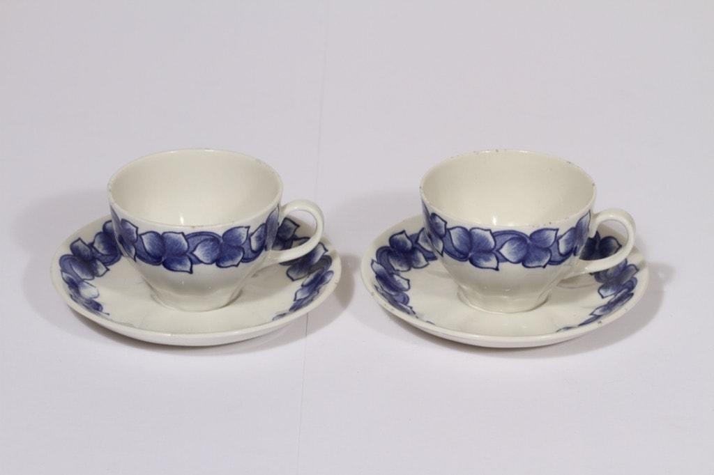 Arabia Rinki kahvikupit, sininen, 2 kpl, suunnittelija Raija Uosikkinen, serikuva