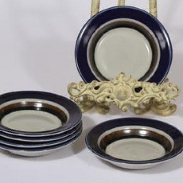 Arabia Saara lautaset, syvä, 6 kpl, suunnittelija Anja Jaatinen-Winquist, syvä, pieni, retro