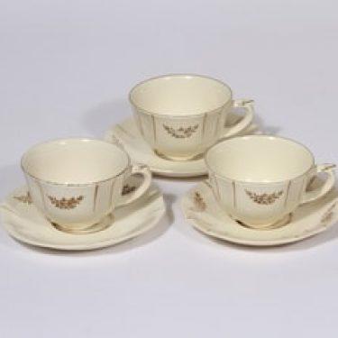 Arabia Irja kahvikupit, 3 kpl, suunnittelija , painokoriste, kullattu