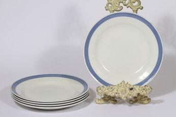 Arabia Sinivalko lautaset, raitakoriste, 5 kpl, suunnittelija Kurt Ekholm,