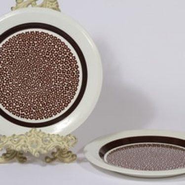 Arabia Faenza lautaset, Ruskeakukka, 2 kpl, suunnittelija Inkeri Seppälä, Ruskeakukka, matala, serikuva