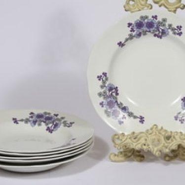 Arabia kukkakuvio lautaset, syvä, 6 kpl, suunnittelija , syvä, serikuva