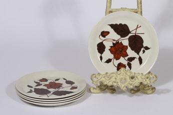Arabia Cafe leivoslautaset, ruskea, 5 kpl, suunnittelija Gunvor Olin-Grönqvist, serikuva, kukka-aihe