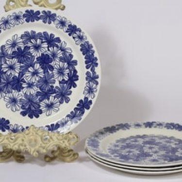 Arabia Sinikukka lautaset, matala, 4 kpl, suunnittelija Esteri Tomula, matala, serikuva