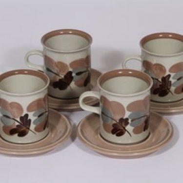 Arabia Koralli kahvikupit, käsinmaalattu, 4 kpl, suunnittelija Raija Uosikkinen, käsinmaalattu, korkea
