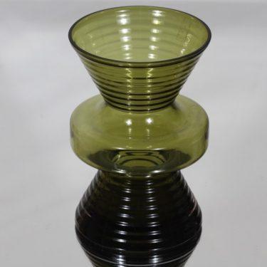 Riihimäen lasi Tiimalasi maljakko, oliivinvihreä, suunnittelija Nanny Still,