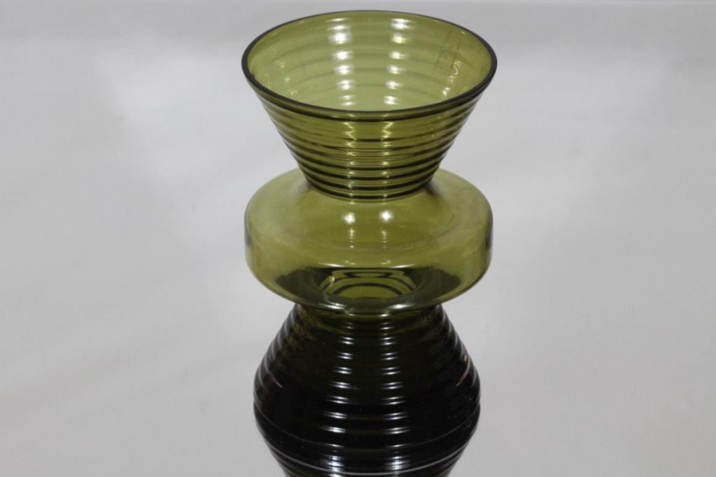 Riihimäki glass Tiimalasi vase, olive green, Nanny Still