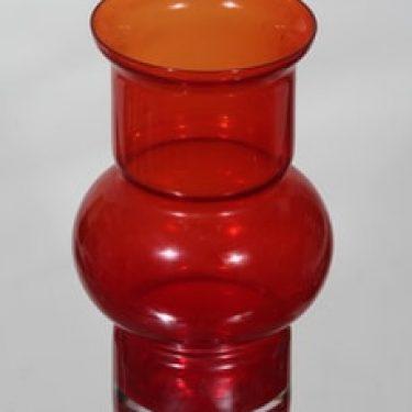 Riihimäen lasi Tuulikki maljakko, punainen, suunnittelija Tamara Aladin,